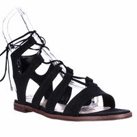 Vince Camuto Tany Lace Up Gladiator Sandals - Black Exotic