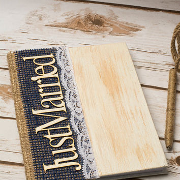 Guest Book Navy Blue Wedding Guestnook Mr Mrs Advice Book Rustic Burlap Decoration Note book Vow Books