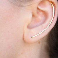 Ear Climber, Gold - Rose Gold - Silver Ear Climbers, Minimal Jewelry, Arch Bar Ear Climbers, Simple Ear Cuff, Small Bar Ear Crawler