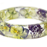 Real Flower Bracelet- Flower Jewelry- Purple Bracelet- Yellow Bracelet- Resin Bangle- Jewelry made with Real Flowers -Real Flowers