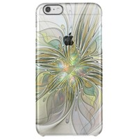 Floral Fantasy Modern Fractal Art Flower With Gold Clear iPhone 6 Plus Case
