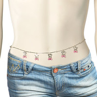 Pink Alluring Gem Butterfly Belly Chain | Body Candy Body Jewelry