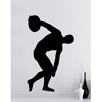 Olympic Discus Thrower Silhouette Vinyl Wall Decal Sticker.  #OS_MB539