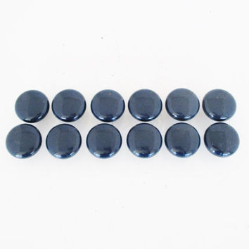 Vintage Knobs 12 Navy Blue Knobs Salvaged Resin Knobs Retro Blue Cabinet Drawer Pulls Vintage Dresser Drawer Hardware Navy Blue Drawer Knobs
