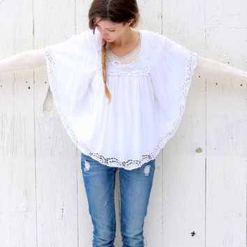Women's Lace  Blouse , upcycled white circle wing sleeve top , M Battenburg lace clothing , eco friendly refashioned clothes by wearlovenow