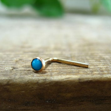 Nose & Tragus Stud Turquoise Gold Filled 3mm