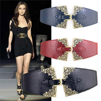2015 New Brand Vintage Women Elastic Leather Belt Unique Design Alloy Buckle All Match Wide Belts For Women