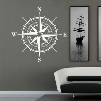 Wall Decal Nautical Compass Rose Wall Decor North South West East- Compass Rose Wall Decal For Living Room Bedroom Office C045