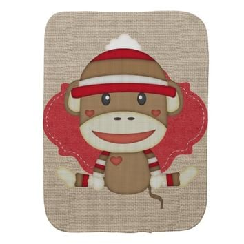 Custom Sock Monkey Baby Shower Gift Baby Burp Cloths