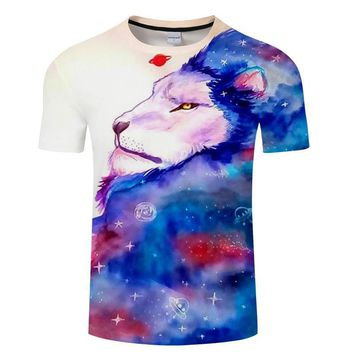 Lion Galaxy Space All-Over-Print T-Shirts - Men's Short Sleeve Crew Neck Novelty Tops
