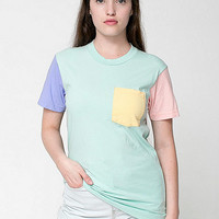 American Apparel - Unisex Power Washed Color Block Pocket Tee
