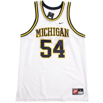 University of Michigan #54 Tractor Traylor Nike Basketball Jersey White (Large)