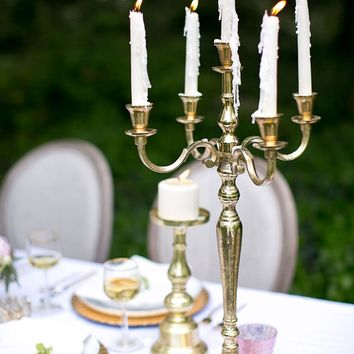 "Tall Aluminum Moretti Candelabra in Gold - 24.5"" Tall x 14"" Wide"