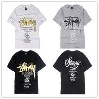 """""""Stussy"""" Fashion Casual Male Female Loose Bronzing Classic Parade Letter Print Round Neck Short Sleeve Couple Cotton T-shirt"""