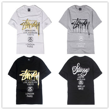 """Stussy"" Fashion Casual Male Female Loose Bronzing Classic Parade Letter Print Round Neck Short Sleeve Couple Cotton T-shirt"