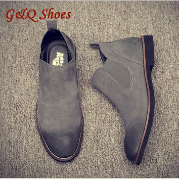 2016Vintage Suede Chelsea Men Leather Boots British Style  Lazy Shoes  For Spring&Autumn Male Nubuck Leather Boots free shipping