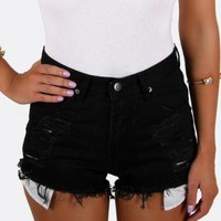 Black High Waisted Denim Shorts with Shredded Detail