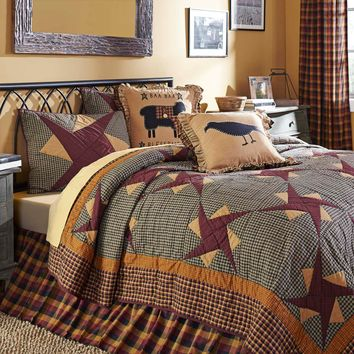 3-pc FOLKSWAY  King - Quilt and Shams Set - Mustard, Black and Burgundy - Traditional Block Motif/Stars