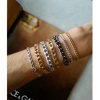 Essentials Collection - Thin Layering Chain Bracelets in Gold, Silver and Gunmetal