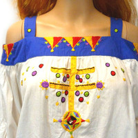 Vintage White Tunic / Ethnic Artisan Shirt / Vtg Mexican Top/ IRENE PULOS / Embroidered Blouse / Cotton Tent Top / Hippie Festival Shirt