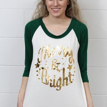 Gold Foil Merry + Bright Raglan {Green}