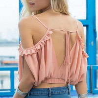 Deep V Backless Loose Shirt Top Tee
