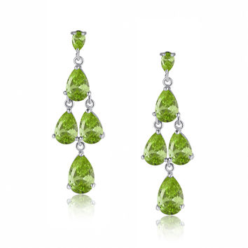 Queen Pear Drop Cubic Zirconia Earrings (Green)