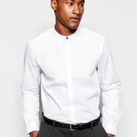 ASOS | ASOS Shirt In Long Sleeve With Grandad Collar And Popper at ASOS