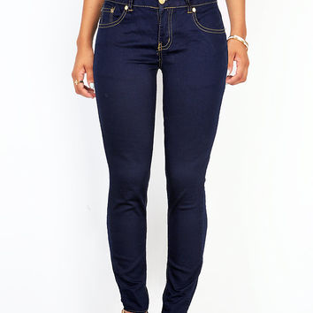 Voltage Stitch Low-Rise Skinny Jeans
