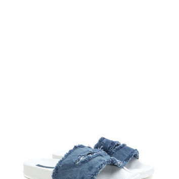 Jean Girls Distressed Slit Slide Sandals GoJane.com