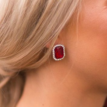New York Sparkles Stud Earrings in Wine