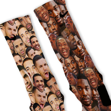 Drake Meek Mill Faces Custom Nike Elite Socks