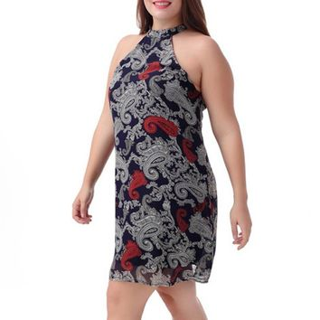 Navy Paisley Double Layer Dress