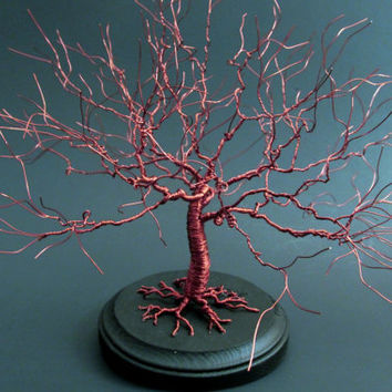 Wire Tree Of Life Sculpture Hand Sculpted Into Red Oak