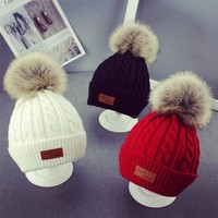 2018 Baby Beanie Hat Winter Toddler Warm Knitted Hat for Girl Baby Boys Hats Fur Pompom Skullies Beanie Solid Cap 1-4 Years