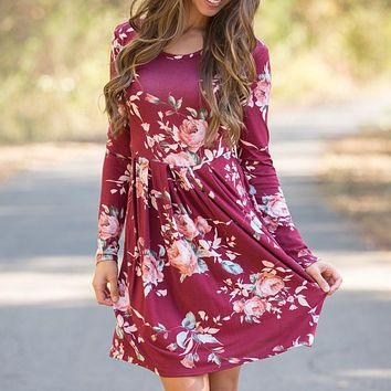 Temperament Fashion Flowers Print Bodycon Round Neck Long Sleeve Ruffle Hem Mini Dress