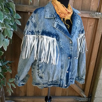 Plus Size  80's Acid Washed Western Denim Jacket with White Leather Fringe 1980s Ladies Jean Jacket