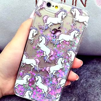 "Unicorn Horse With Dynamic Liquid Glitter Phone Cases Cover For iPhone 5 / 5S 6 / 6S / 6Plus 5.5 "" FREE SHIPPING """