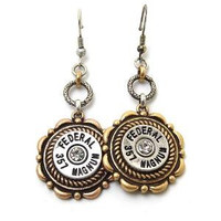 Gold and Silver Federal Bullet Dangle Earrings