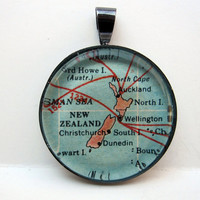 Vintage Map Pendant of New Zealand in Glass by CarpeDiemHandmade