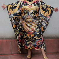 "Plus size caftan long silk occasion evening extra large caftan dress ""Eastern Sun"" US 16-18 size / UK 18-20 size"