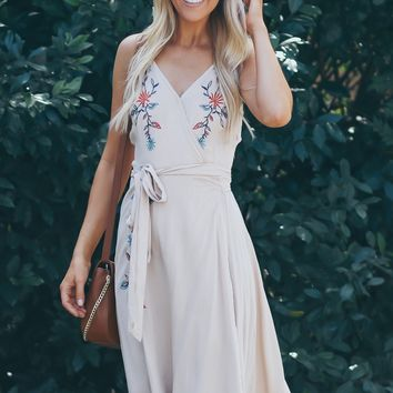 Flow With Me Floral Embroidered Dress Frosted Almond