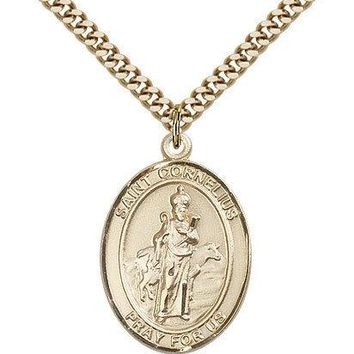 "Saint Cornelius Medal For Men - Gold Filled Necklace On 24"" Chain - 30 Day Mo... 617759801828"