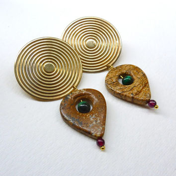 Sacred Geometry Statement Earrings. Concentric Circles / Malachite / Garnet / Jasper