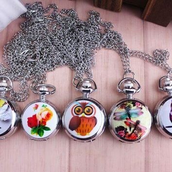 New Fashion Bronze Vintage Full Hunter Jade Cute Owl Pocket Watch with Chain Necklace Pendant Gifts Women Girl