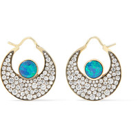 Noor Fares - Chandbali 18-karat gold, opal and diamond earrings