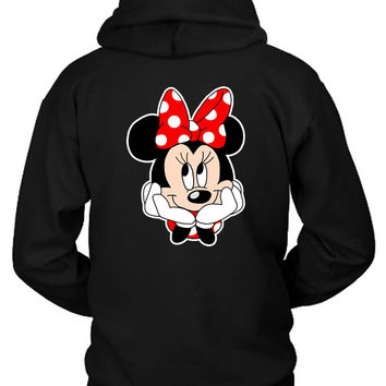 Disney Minnie Mouse Hipster Nerdy Hoodie Two Sided