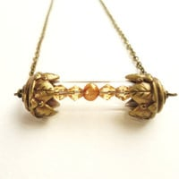 Victorian Style Bronze Time Capsule Necklace With A Golden Freshwater Pearl & Swarovski Crystals