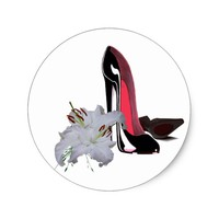 Black Stiletto Shoes and Lilies Art Classic Round Sticker