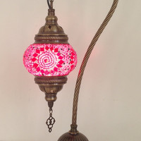 Pink Life Design swan neck mosaic lamp with vintage look bronze plated base , Bedside lamp, Turkish lamp, Night Light, Gypsy Lamp. Desk Lamp